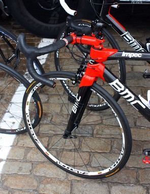 BMC team sponsor Easton provides Cadel Evans with special world champion-edition wheels.