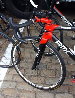 BMC team sponsor Easton provides Cadel Evans with special world champion-edition wheels.