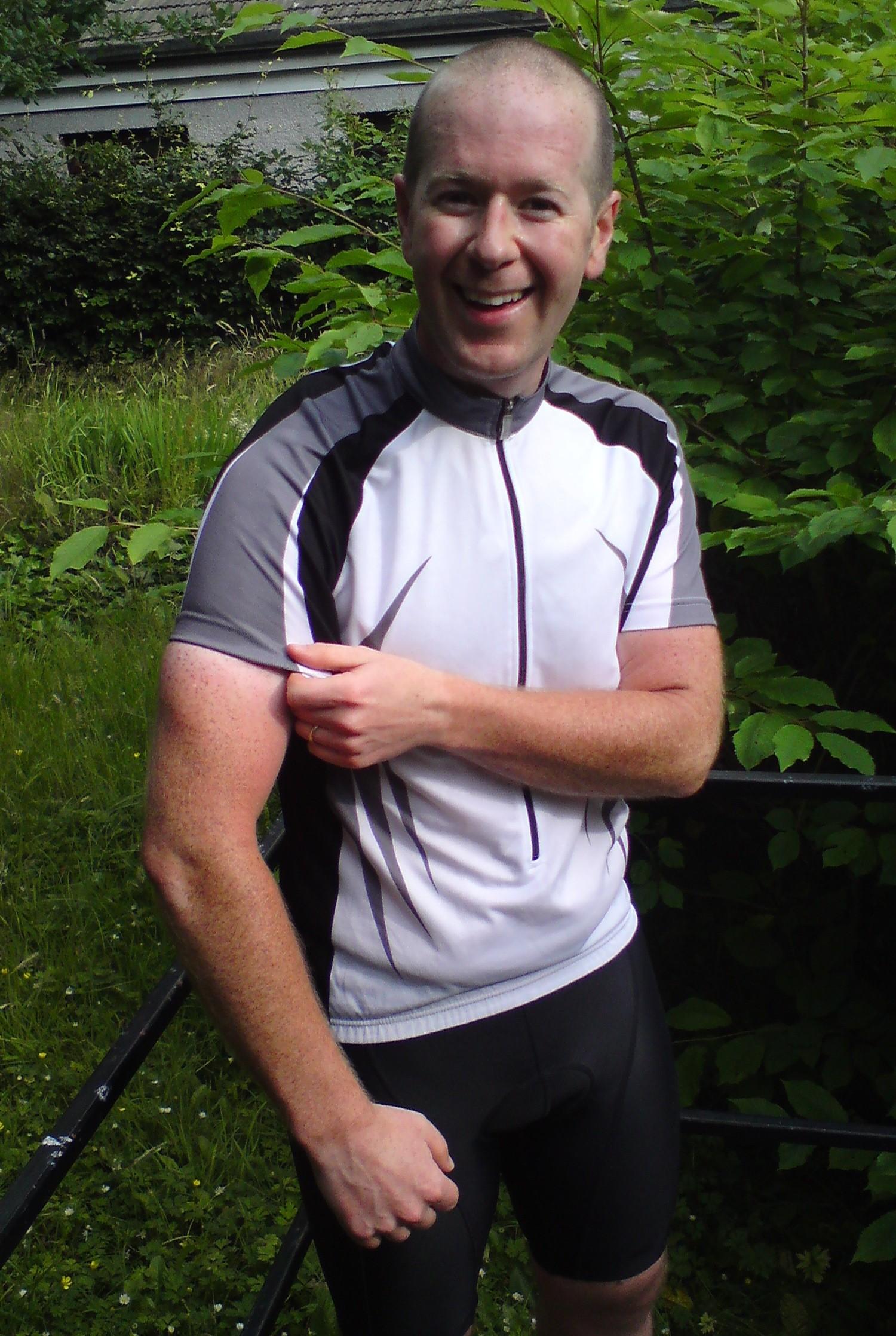 Sam shows off his cyclist's tan!