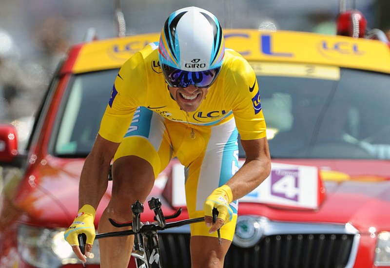 Alberto Contador (Astana) on his way to securing yellow in the time trial