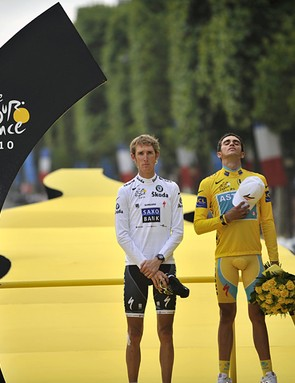 Andy Schleck, Alberto Contador and Denis Menchov on the podium