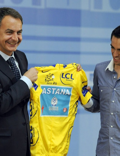 Spanish prime minister Jose Luis Rodriguez Zapatero with Alberto Contador