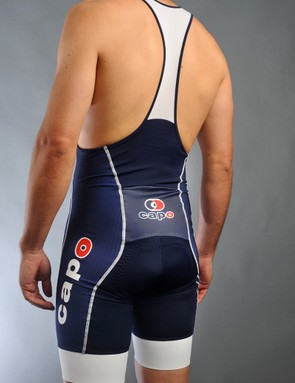 Capo's Monza bib shorts bunch up a bit in the back, but only when standing upright - when seated on the bike, they snug up nicely all around, just as they should
