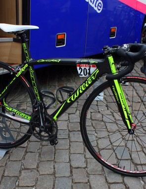 Holy neon!  Hard to miss the brightly covered Wilier Cento 1 SLs of Team Lampre-Vini Farnese.