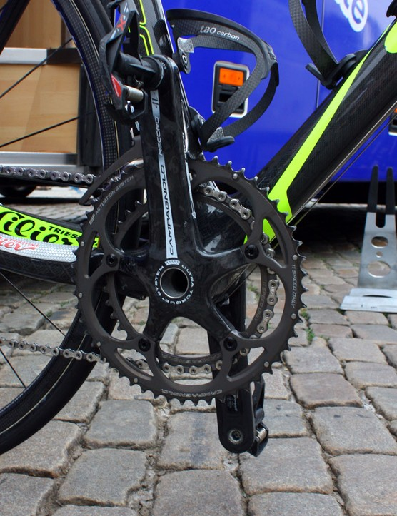 Like many Campagnolo-sponsored teams in this year's Tour de France, Lampre-Vini Farnese bikes use Record cranks, not Super Record ones.