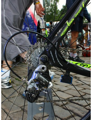 The looped rear end of Lampre-Vini Farnese's Wilier Cento 1 SL frames include replaceable derailleur hangers.