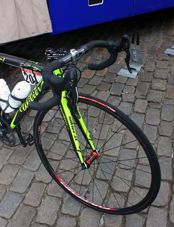 Vittoria tyres are wrapped around Lampre-Vini Farnese's Fulcrum carbon rims.