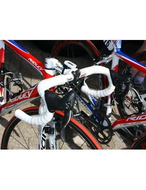 Cockpit setups of Katusha's Ridley bikes are awash in white.