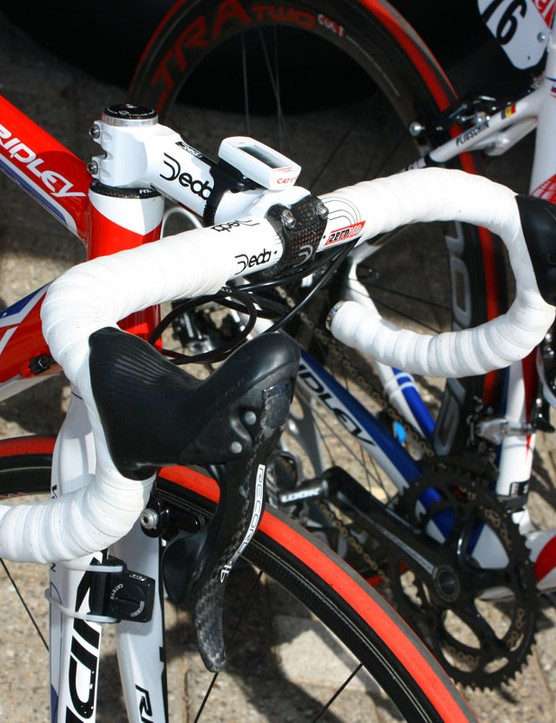 Cockpit setups of Katusha's Ridley bikes are awash in white.