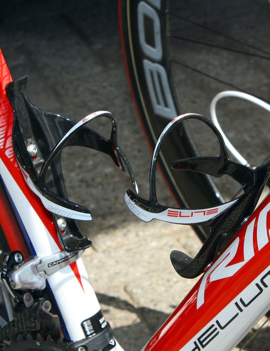 Katusha team riders use Elite's new Sior cages to hold their bottles.
