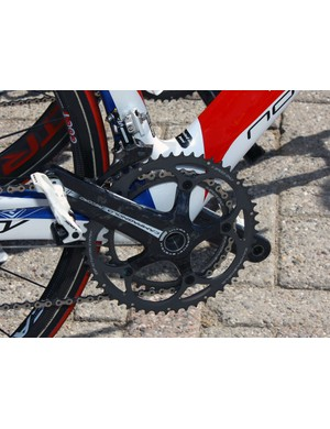 Katusha riders put the power down through Campagnolo Record cranks and Look KéO pedals.