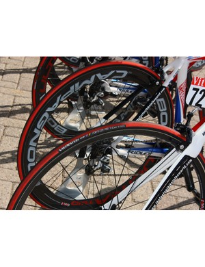 Katusha is using Vredestein tires mounted on Campagnolo rims.