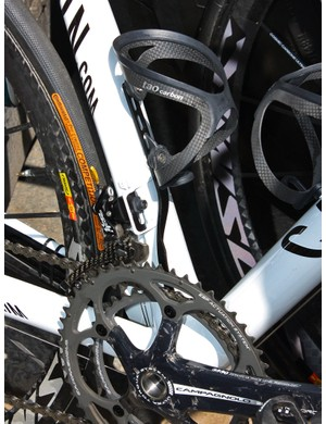 Omega Pharma-Lotto is using these unique chain watchers, which mount to the bottle cage bosses instead of the front derailleur tab for a far more secure foundation.
