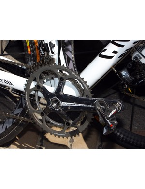 Look KéO pedals are bolted to the Campagnolo Record cranks of the Omega Pharma-Lotto team.