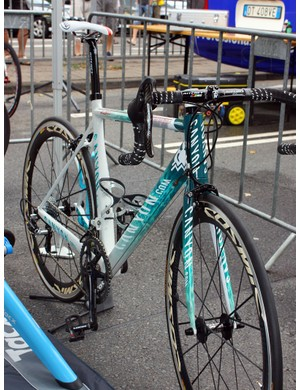 Omega Pharma-Lotto's Canyon Ultimate CF SLX frames include stout forks for precise handling.