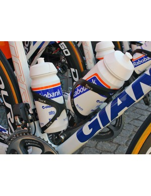 Tacx Taco cages hold on to the Rabobank team bottles.