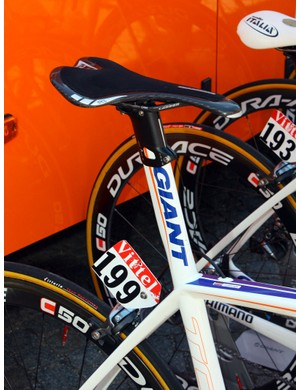 Giant was one of the first manufacturers to use an integrated seatmast as seen here on the Rabobank team bikes.