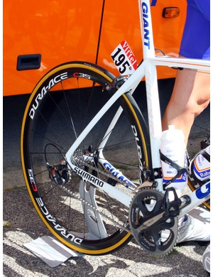 The rear end of Rabobank's Giant TCR Advanced SLs features wishbone-style seat stays.