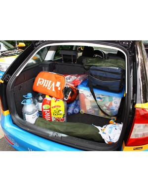 The back of this Garmin-Transitions team car is loaded up with a lot of water and calories.