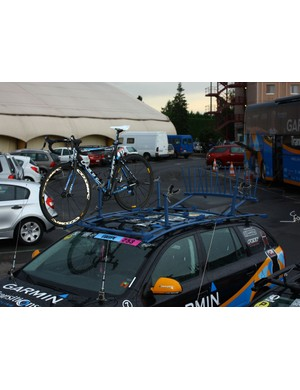 Tyler Farrar's bike is one of the last to be tended to after the end of the stage.
