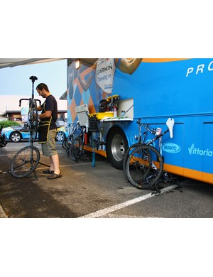 Tyler Farrar's bike is clean and ready for adjustments but still has to wait its turn.
