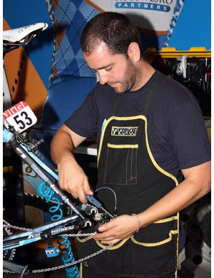 Inaki Goiburu makes sure that all of the water is removed, especially in the drivetrain.