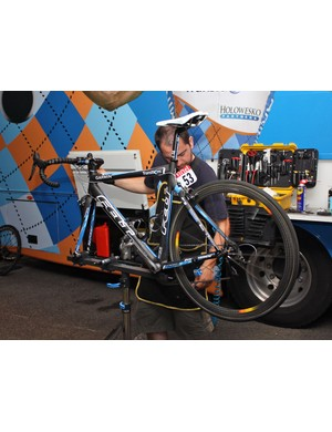 Next on the list is checking the shift performance of Tyler Farrar's bike.