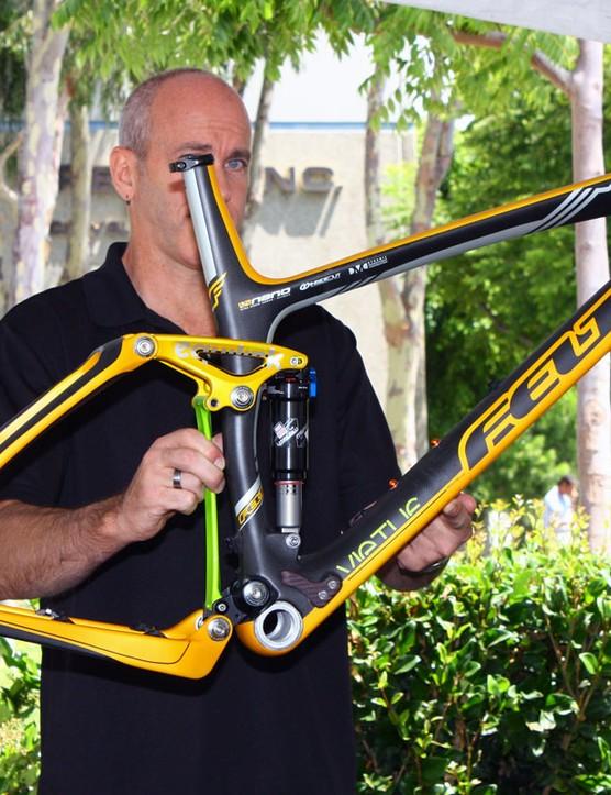 Felt mountain bike designer Mike Ducharme shows off the new Felt Virtue LTD frame.