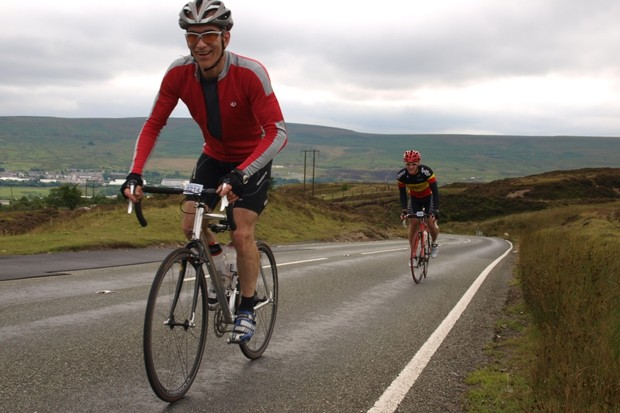 Paul Littlechild puts in a final effort on the climb out of Blaenavon