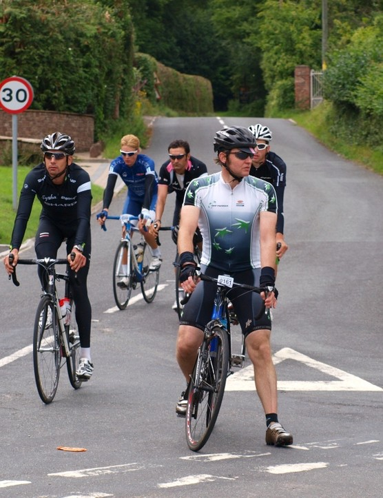 Graeme Hughes is about to get overtaken by some Rapha and Pendragon riders
