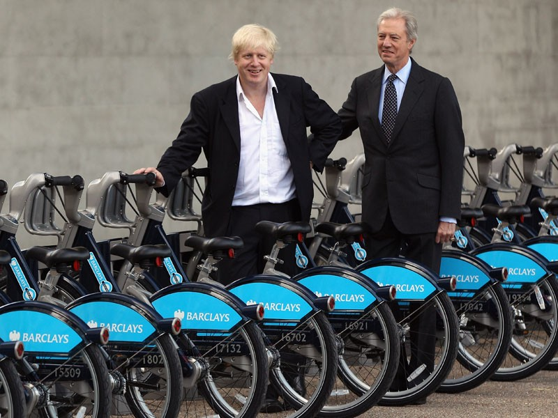 London Mayor Boris Johnson and Barclay's chairman Marcus Agius in front of the new hire bikes