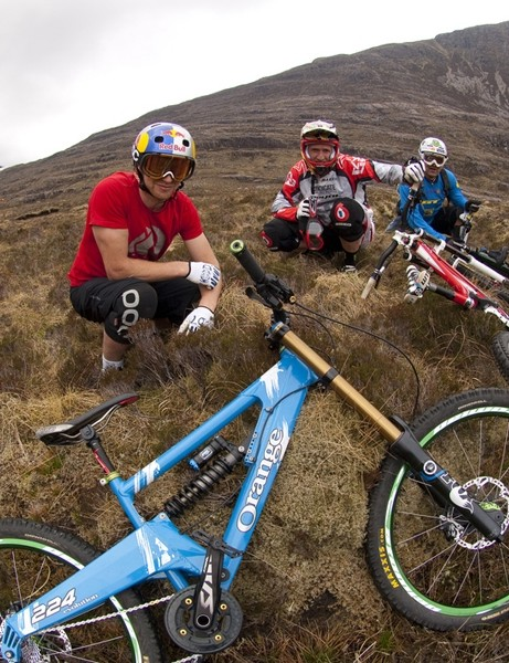 This signed photo of Steve Peat, Danny MacAskill and Hans Rey is being auctioned off for Wheels4Life