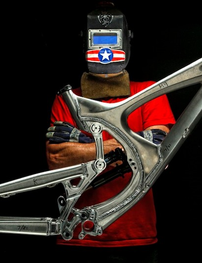 All Intense bikes are made in the USA, the masked man is Intense founder Jeff Steber
