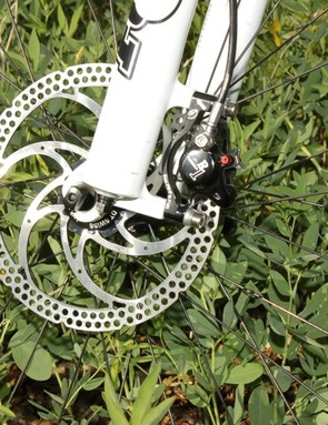 The Formula R1 brakes were plenty powerful and don't need the supplied 180mm rotor for cross-country use