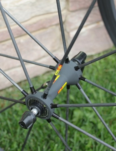 The R-Sys SLR front hub is anodized to match the Exalith rim, but it's a standard coating, not the special treatment