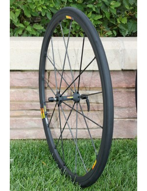 The R-Sys SLR front wheel is said to be roughly 30-percent stiffer than the Ksyrium equivalent