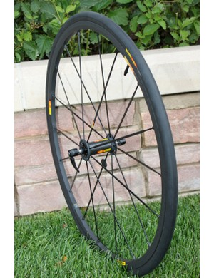 The Ksyrium SLR front wheel saves $200 over the R-Sys model, yet only adds about 30g to the overall weight of the set