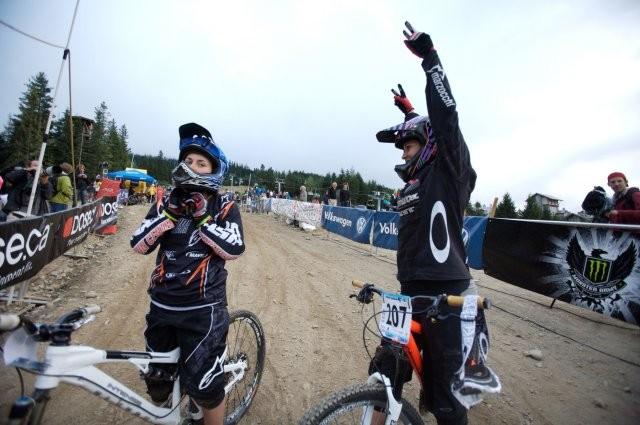 A jubilant Micayla Gatto celebrates her win in the women's dual slalom
