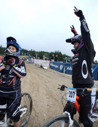 A jubilant Micayla Gatto celebrates her win in the women's dual slalom