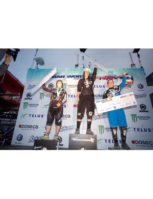 Women's dual slalom podium (L-R): Emmeline Ragot, Micayla Gatto and Jill Kintner