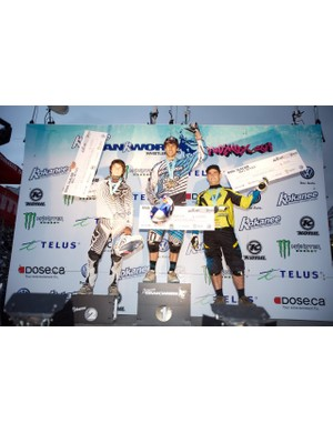 Men's dual slalom podium (L-R): Mitch Ropelato, Gee Atherton and Mick Hannah