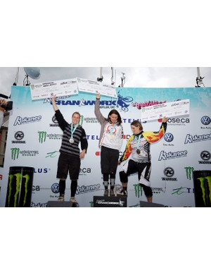 Women's downhill podium: Miranda Miller, Anne-Caroline Chausson and Fionn Griffiths