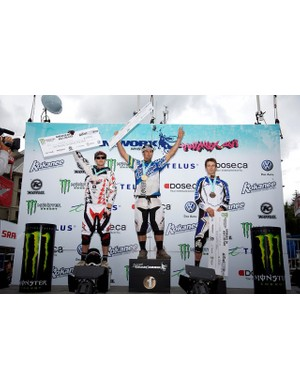 Men's downhill podium: Justin Leov, Chris Kovarik and Sam Blenkinsop