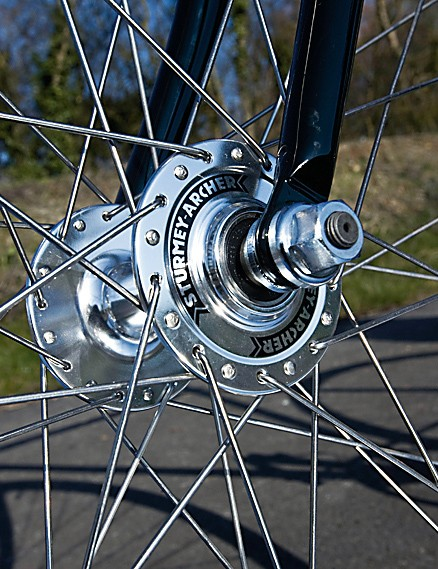 The wheels, with those Sturmey hubs, are both smooth running and well sealed, laced with butted spokes to Mavic's Open Sport rim