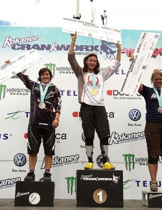 Women's enduro podium (L-R): Emmeline Ragot, Anne-Caroline Chausson and Katherine Short