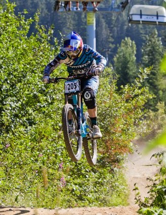 Rachel Atherton was pipped to third place in the Air DH by Frenchwomen Anne-Caro Chausson and Emmeline Ragot