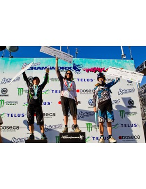 Women's Air DH podium (L-R): Emmeline Ragot, Anne-Caroline Chausson and Rachel Atherton