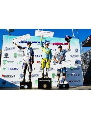 Men's Air DH podium (L-R): Sam Blenkinsop, Brian Lopes and Gee Atherton