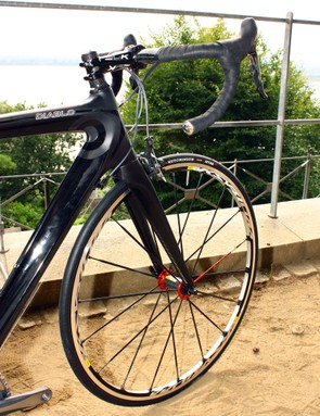 The front end of the Diablo features a burly tapered head tube and a 340g carbon fork with deep blades