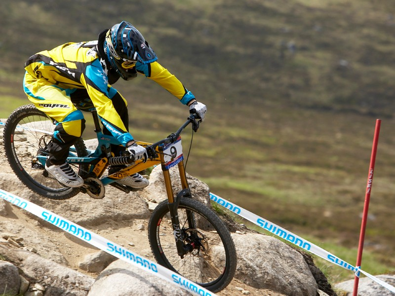 US rider Aaron Gwin in action at this year's second World Cup round in Fort William, Scotland